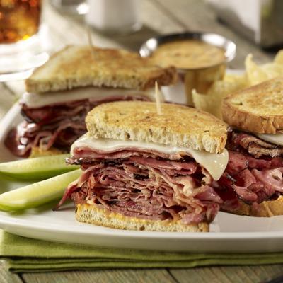 Sourdough pastrami melt sandwich