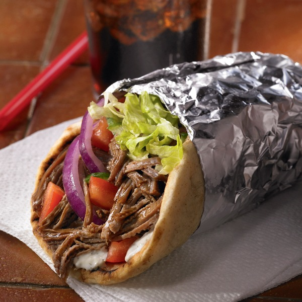 Shredded beef gyro wrapped in foil