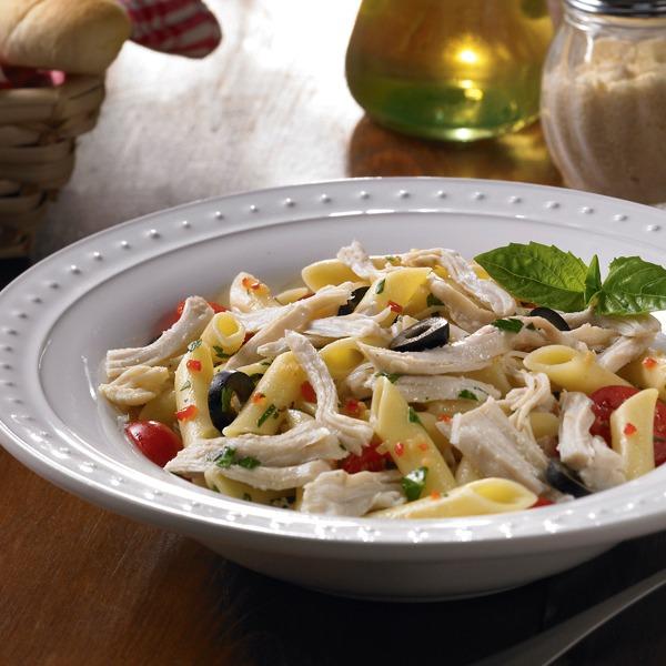 Italian shredded chicken pasta salad in a bowl