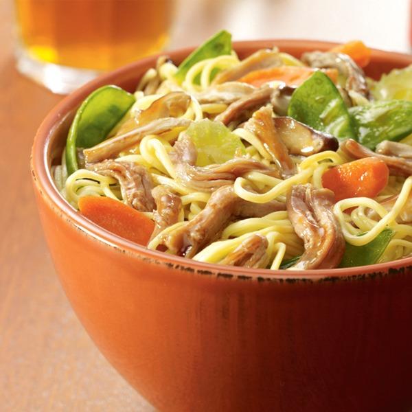 Shredded pork chow mein in a bowl