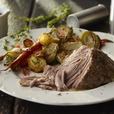 Balsamic pot roast with fall vegetables