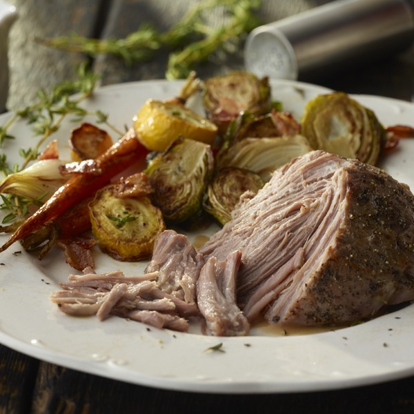 Balsamic pot roast on a plate with seasonal vegetables
