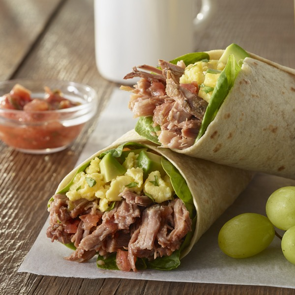 natural pot roast breakfast burrito with grapes