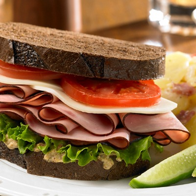 Black forest ham and cheese sandwich