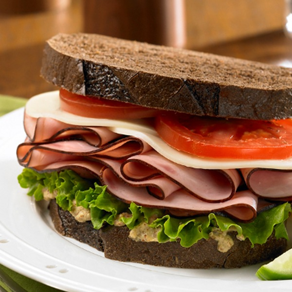 Black forest ham and cheese sandwich close-up