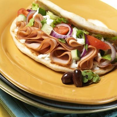 Mediterranean turkey pita sandwich