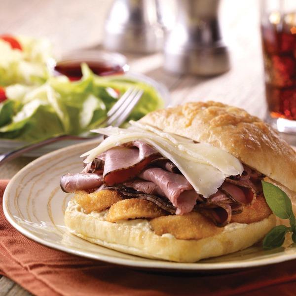 Prime rib and asiago sandwich