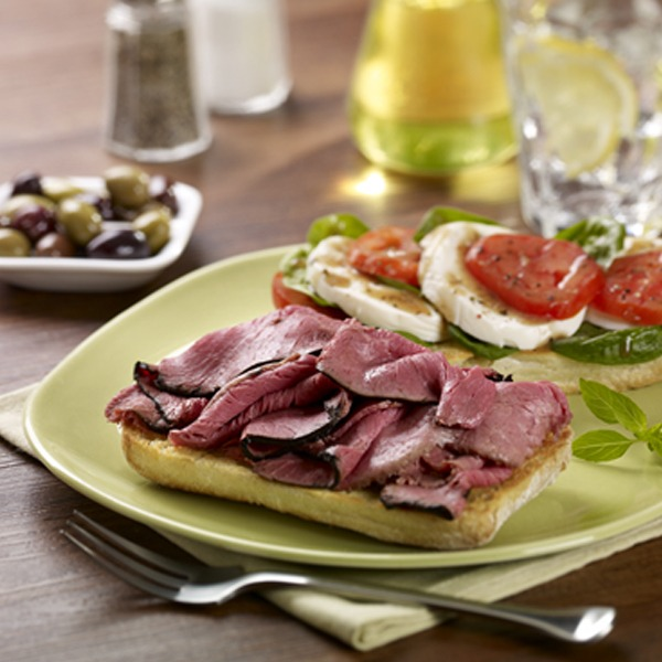 open-faced beef caprese sandwich