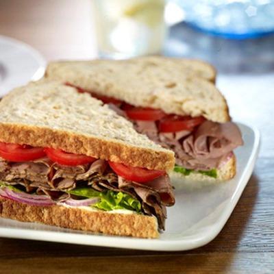 All American roast beef sandwich on a plate