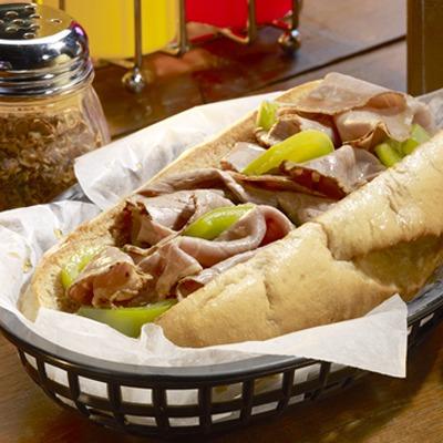 Italian beef sandwich in a basket