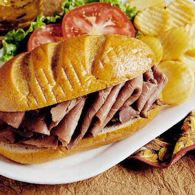 French roast beef sandwich on a plate