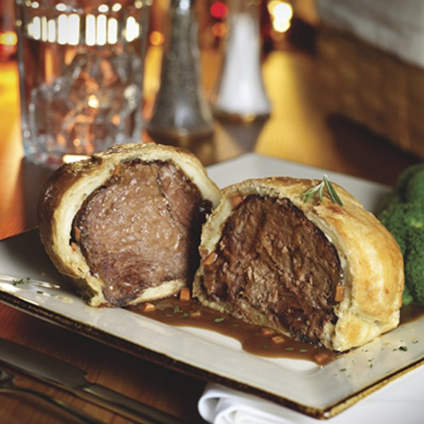 Beef pot roast wellington on a plate