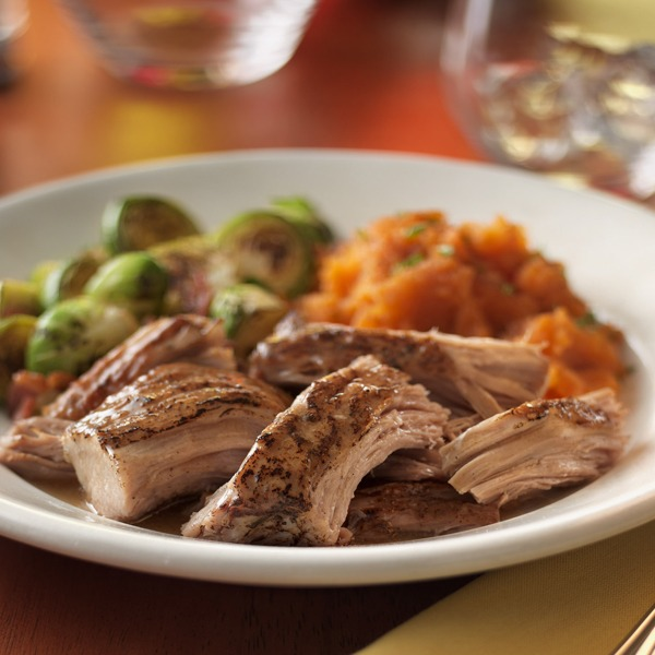 Southern-style pork pot roast in a bowl with veggies