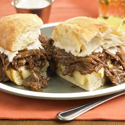 Pot roast beef and horseradish sandwich