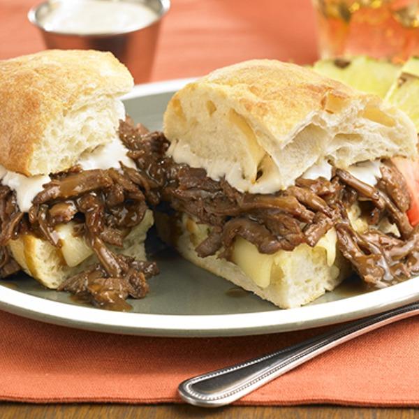 Pot roast beef and horseradish sandwich on a plate