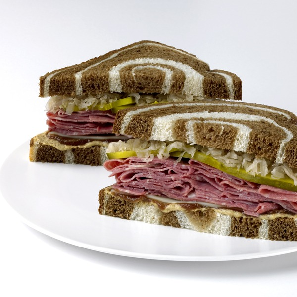 Gourmet reuben jam sandwich on a plate