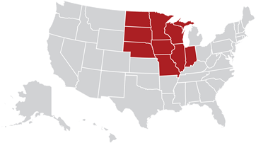 Map of the United States with Midwest region highlighted