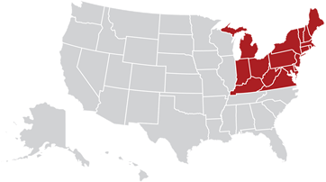 Map of the United States with Northeast region highlighted