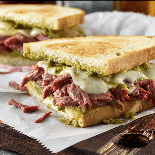 Corned beef pesto grilled cheese