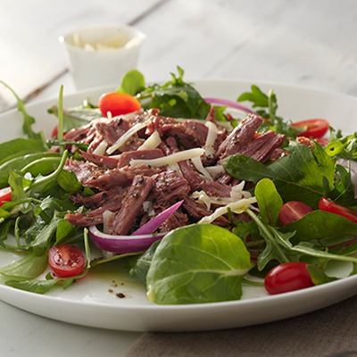 Pastrami salad on a plate