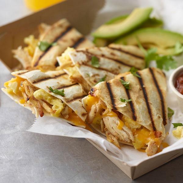 Pulled chicken breakfast quesadilla