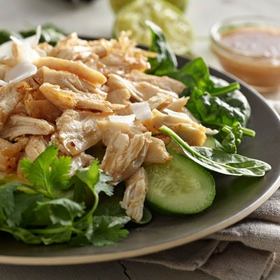 Pulled chicken salad on a plate