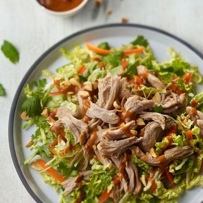 Pulled turkey salad on a plate